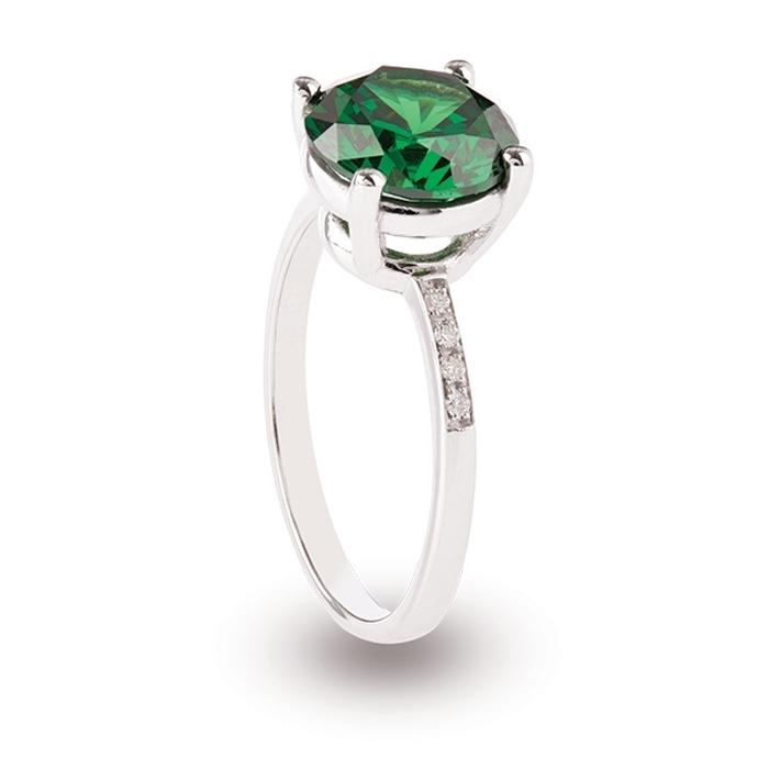 acheter authentique le dernier grand choix de Anello in oro 18 Kt pietra rotonda Verde e Diamanti